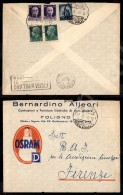 """Mista Con Regno - Imperiale + Democratica (248+251+555) Busta Illustrata """"OSRAM"""" Da Foligno A Firenze... - Stamps"""