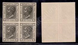 1867 - Prova Di Macchina - 20 Cent Nero (P26) In Quartina Nuova Senza Gomma - Unclassified