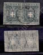 1860 - Coppia Orizzontale Del 20 Cent Azzurro Grigio (20b) Con Grandi Margini - Molto Bella (825+) - Stamps