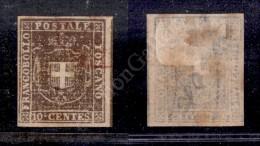 1860 - 10 Cent Bruno (19) Con Grandi Margini E Parte Di Linea Di Riquadro A Destra - Leggero Annullo A Doppio... - Stamps