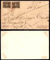 Due Pezzi Del 10 Cent Bruno (19) Con Margini Intaccati - Frontespizio Di Lettera Da Lari (rosso - P.ti 12) A... - Stamps