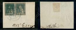 4 Crazie Verde (14) Corto A Destra + 2 Crazie Azzurro Verdastro (13a) Su Frammento Da Bagno (azzurro - P.ti 13)... - Stamps