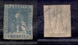 1857 - 2 Crazie Azzurro (13) Con Tre Ottimi Margini E Corto In Alto - Freschissimo - G. Oliva (6.000) - Stamps