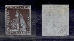 1851 - 9 Crazie Viola Bruno Violaceo Su Grigio (8a - Carta Azzurra) Ottimi Margini (1.350) - Stamps