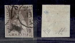 1851 - 9 Crazie Bruno Violaceo Grigio (8 - Carta Azzurro Grigia) Grandi Margini Con Due Vicini Ai Lati (425+++) - Stamps