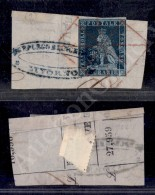 6 Crazie Indaco (7a - Carta Azzurra) Con Ottimi Margini Su Frammento - Muto A Ragno Di Livorno (rosso P.ti 11) -... - Stamps