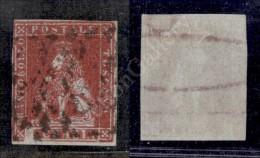 1851 - 1 Crazia Carminio Cupo Su Azzurro (4a) Tassello Della Cifra Mancante - Ben Marginato - Stamps
