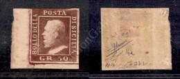 1859 - 50 Grana Cioccolato (14a) Angolo Di Foglio (pos. 91) Nuovo Con Gomma - Preciso In Alto - Sorani + Raybaudi... - Stamps