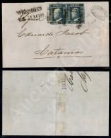 Coppia Del 2 Grana Azzurro Oltremare (7d - Tav. II Pos. 49/50) Su Lettera Da Messina A Catania Del 14.5.59 - Cert.... - Stamps