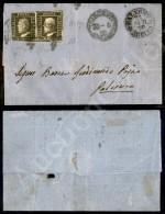Coppia Del 1 Grano Verde Oliva Scuro (5c III Tav. - Pos. 51/52) Corta A Sinistra Su Lettera Da Girgenti A Palermo... - Stamps