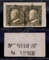 1859 - 1 Grano Verde Oliva (5a) - Coppia Orizzontale Ben Marginata Su Frammento - E. Diena (1.000+) - Stamps
