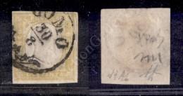 1859 - 80 Cent Giallo Limone Olivastro (17Ab) - Ben Marginato - Filo Di Riquadro Sul Bordo A Destra - Como 30.8 -... - Stamps