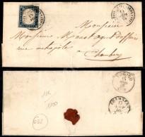 R. Posta Mil. Sarda/Div. Cavalli (P.ti 13) - 20 Cent Azzurro (15B) Corto In Basso - Letterina Per Chambery Del... - Stamps