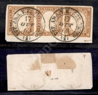 Uff. Amb. V.E. Sez. Ticino 1 (P.ti 11) 10 Cent Bistro (14E) - Striscia Orizzontale Di Tre Su Frammento - Molto... - Stamps