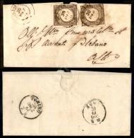Due 10 Cent Bruno Cioccolato Chiaro (14Ck) Appena Corti A Destra - Letterina Da Sciolze (P.ti 8) A Asti Del... - Stamps