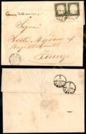 Amb. Massa Fir. N.2 (P.ti 11) - Coppia Del 5 Cent Verde (13Dc) Applicata A Cavallo Del Bordo - Lettera Da Pescia A... - Stamps