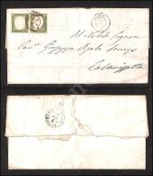 Coppia Del 5 Cent Verde Oliva (13Cc) Su Lettera Da Palermo A Caltanisetta Del 1.4.62 (1.100) - Stamps