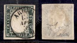 1857 - 5 Cent Verde Mirto Scuro (13Ab) - Ottimi Margini - Arona 13.4.59 - Diena + Raybaudi + Savarese - Molto Bello - Stamps