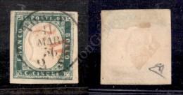 1855 - 5 Cent Verde Smeraldo Scuro (13f) Ottimi Margini - Torino 11.3.56 + PD In Rosso - Molto Bello - E. Diena... - Stamps