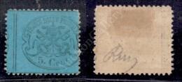 1868 - 5 Cent Azzurro Verdastro (25a) - Dentellatura Verticale Molto Spostata A Sinistra Con Parte Del Vicino... - Stamps