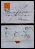 10 Cent Vermiglio Arancio (17) Su Lettera Da Toscanella (P.ti 3) A Roma Novembre 1867 - Stamps