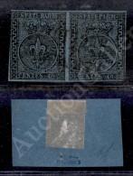 1852 - 40 Cent Azzurro Chiaro (5a) - Coppia - Tre Ottimi Margini Con Disegno Toccato A Sinistra In Alto (5.000) - Stamps