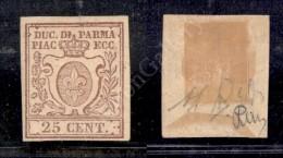 1857 - 25 Cent Bruno Lilla (10) - Nuovo Con Gomma - Diena (1.400) - Stamps