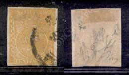 1853 - 5 Cent Giallo (6a) - Buoni Margini Completi - Diena + Oliva (1.600) - Stamps