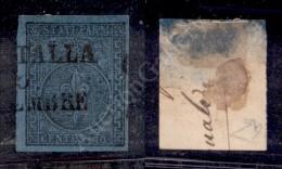 1852 - 40 Cent Azzurro Chiaro Con Greca Di Destra Larga (5c) - Diena - Splendido (2.500) - Stamps