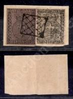 1852 - 25 Cent (4a) + 15 Cent (3c - Stampa Povera E Mossa) Su Frammento - Greche Sinistre Larghe - Ottimi Margini... - Stamps
