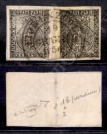 10 Cent Bianco (2) + 5 Cent Verdino (2b) Su Frammento Da Fiorenzuola 19.6.56 - Entrambi Bordo Foglio A Sinistra -... - Stamps