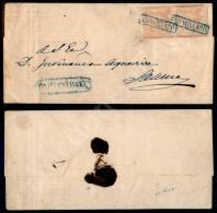 Annullato Di Campagna (in Azzurro - P.ti 8) - Coppia Del 1 Grano (3) Su Lettera Per Salerno - Raybaudi (1.300) - Stamps