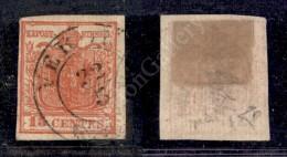 1851 - 15 Cent Rosso Vermiglio (15) - Carta A Coste Verticali (1.200) - Stamps