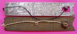 RARE 2 Marque-Pages Signets Métal Gravé Dont Un Avec Ange Autre Motif Floral Anciens 3x17 Cms éditeur M ??? Be - Autres Accessoires