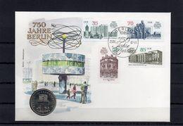 DDR, 1987, Numisbrief, Michel 3071/74-5 Mark Berlin-Weltzeituhr - [6] Democratic Republic