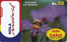 TARJETA DE BOLIVIA DE UNA ABEJA (HOLA MOVIL) BEE - Bolivia