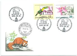 5479II Hungary FDC Zoo Fauna Wild Animal Bird Flora Plant Flower Orchid Mammal Elephant - Orchidées
