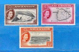 Ref. (Mn.1 )ASCENSION ISLAND - * 1956 - Elisabetta II, Yvert 63-64-65. MH. Vedi Descrizione - Ascensione