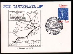 Entier Postal ,stationery Card, 31 Toulouse, Aviation, Lignes Aériennes Latecoere, Le Réseau En 1924 - Entiers Postaux
