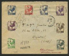 PARIS : Enveloppe Recommandé De Fortune Avec Serie Coq D'Alger Utilisé En 1944 Oblt CàD  A4 PARIS 73 RUE DU RENDEZ-VOUS - Marcophilie (Lettres)