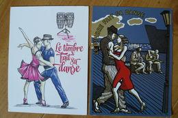 France - PAP - Le Timbre Fait Sa Danse - 2 Cartes-Postales Différentes - Salsa & Tango - Entiers Postaux