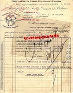 59 - CAMBRAI - FACTURE ETS. CASIEZ BOURGEOIS - MANUFACTURE LACETS TRESSES ET RUBANS-1937- 61 RUE DE SOLESMES - Textile & Vestimentaire