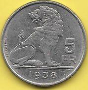 5 Francs Léopold III 1938 FL-FR Couronne RARE - 1934-1945: Leopold III