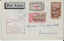 REUNION - 1943 - FRANCE LIBRE - YT 189 + 187 + 232 RARES Sur LETTRE Par AVION De SAINT DENIS => TANANARIVE (MADAGASCAR) - Réunion (1852-1975)