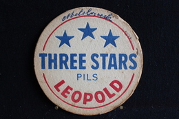 Sous Bock/Bierviltjes/ Coasters,Brasserie/ Brouwerij-Three Stars Pils, Leopold ( Sabena, Brussels National Airport ) - Beer Mats