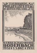 Litho Stich AK Tetschen Bodenbach Decin 13. Philatelistentag Werbeschau Börse 1932 Stempel Bei Aussig Pirna Dresden - Sudeten