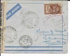 REUNION - 1943 - FRANCE LIBRE - YT 232 SEUL Sur LETTRE Par AVION Avec CENSURE De SAINT DENIS => TAMATAVE (MADAGASCAR) - Réunion (1852-1975)