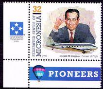 Donald Douglas, American Eng., Aviation,Smoking, Micronesia 1995 MNH Corner - Aerei