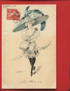 Carte Postale Ancienne ROBERTY LE SOURiRE 49 Femme Chapeau Trottin Mode 1909 Carton Chapeau - Other Illustrators