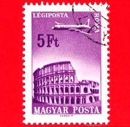 UNGHERIA - MAGYAR - Usato - 1966 - Aereo Su Città Servite Dalla Compagnia Ungherese - Roma - 5 P. Aerea - Posta Aerea